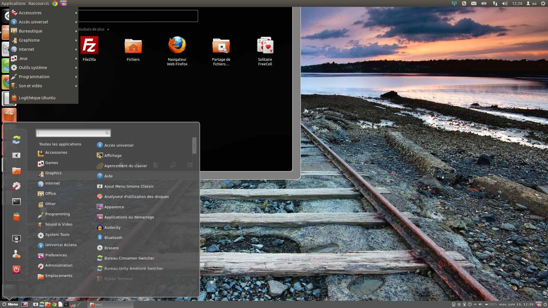 Cubuntu Ubunru avec Gnome + Cinnamon + Unity , ensemble et permutable a chaud !