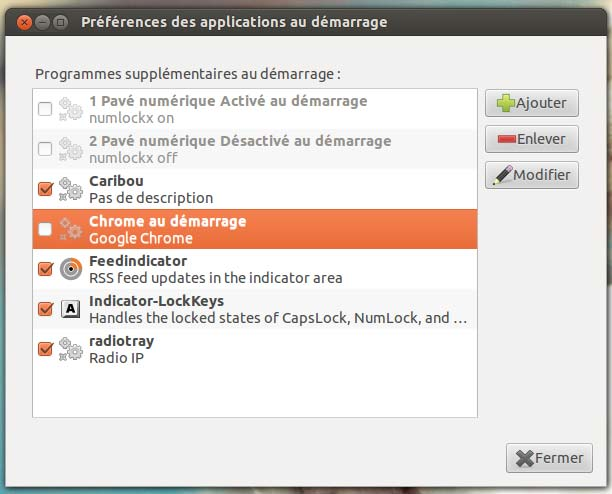 Applications au démarrage de Cubuntu
